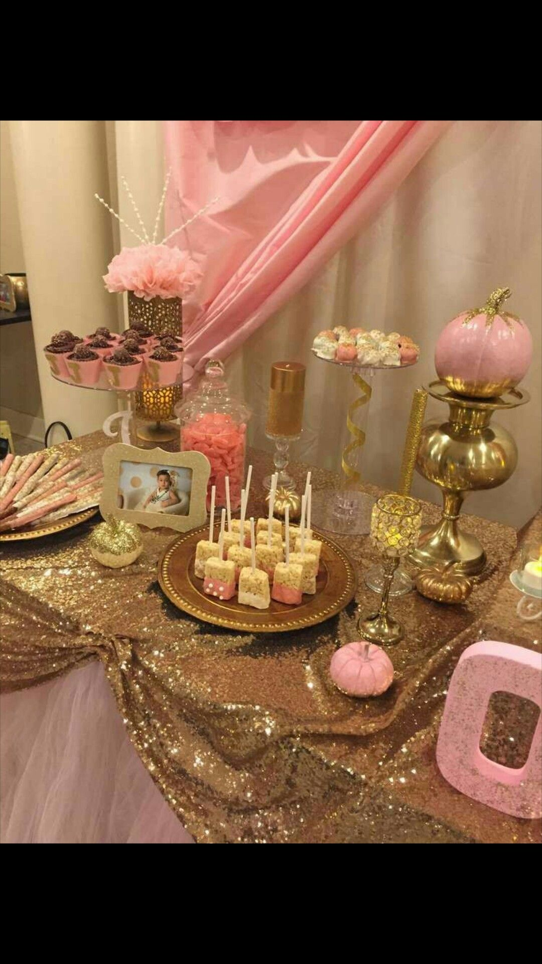 Beautiful Sequin Serving Table Pink And Gold Birthday Party