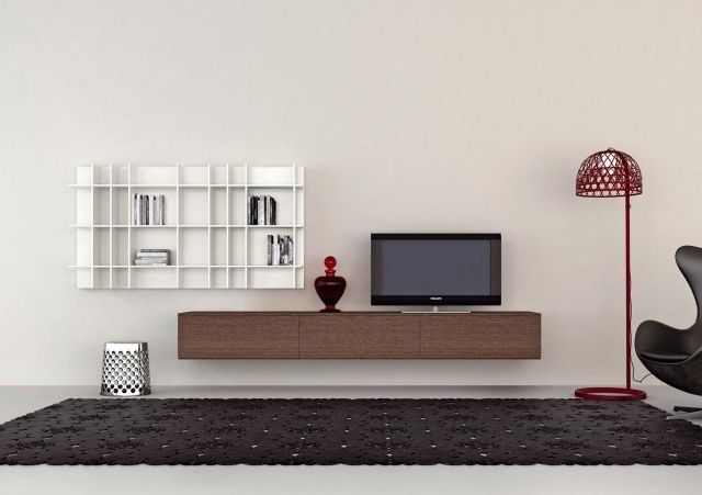 meuble tv suspendu 25 id es pour un int rieur l gant salon pinterest meuble tv meuble. Black Bedroom Furniture Sets. Home Design Ideas