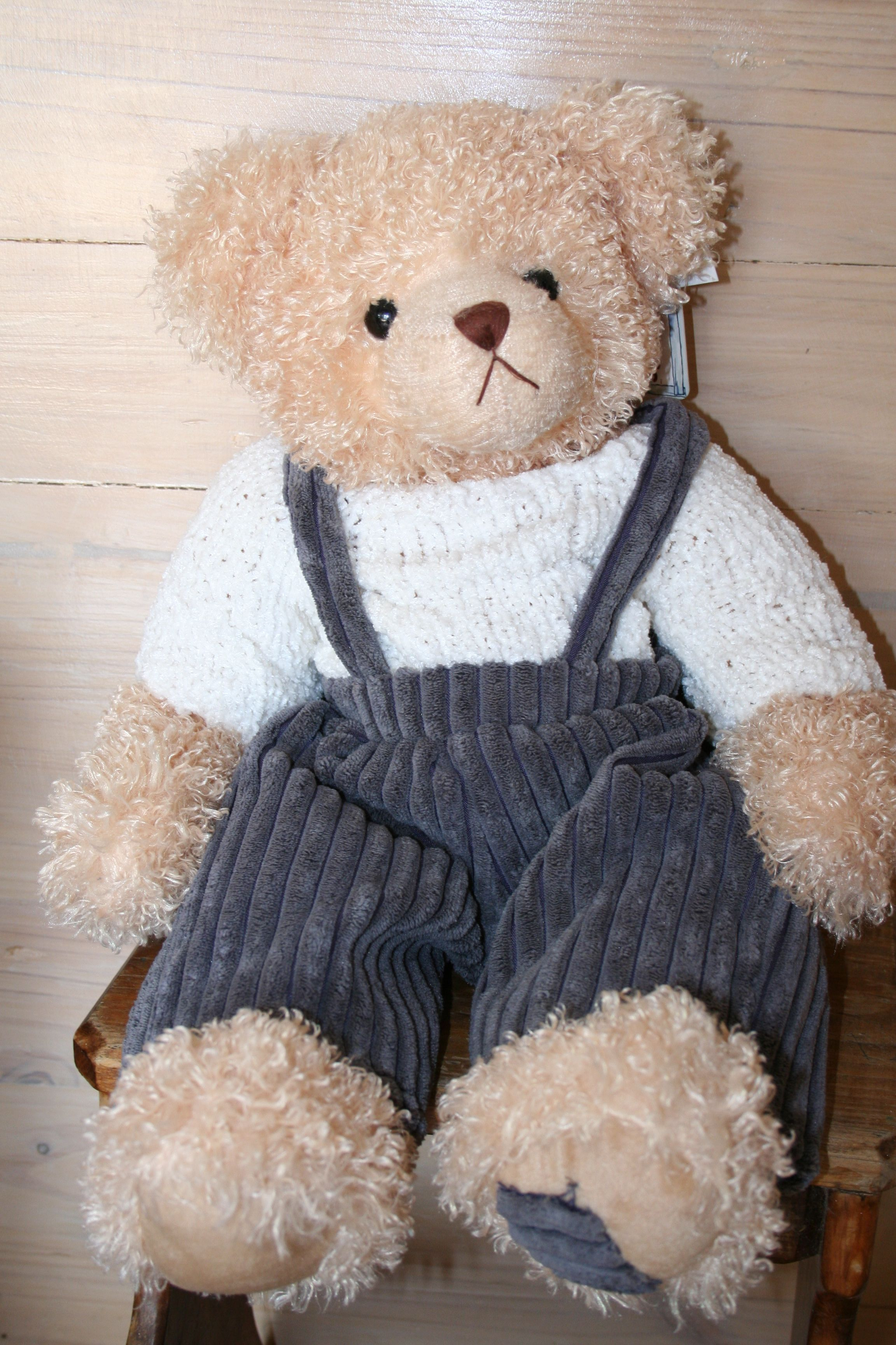 """HARRY is """"one of the BOYS"""" from Settler Bears Boronia collection.  He has gorgeous curly fur and dressed for FUN.  Price A$96.75 SHIP WORLDWIDE Email: mailto:toodledoo@bigpond.com www.settlerbearsaustralia.com.au,  Mobile: 0433 253 800  Toodle Doo - the MAGIC place to shop!"""