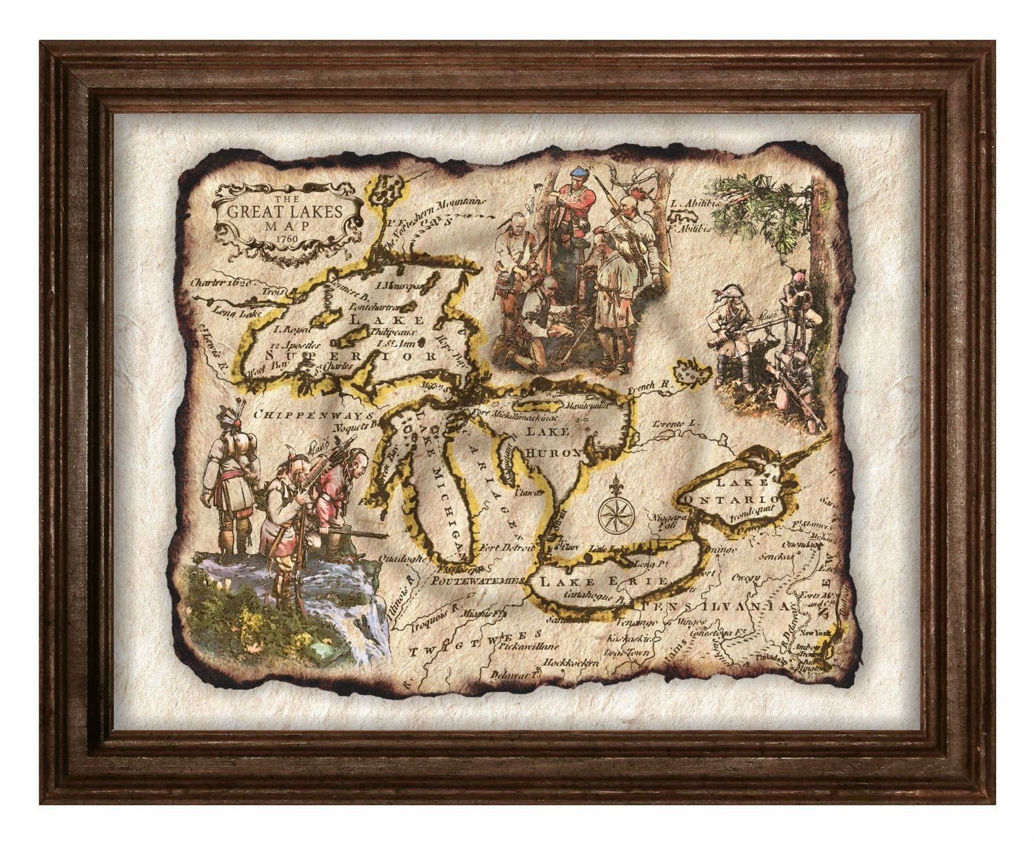 Antique Map Of Native American Art Decor Great Lakes