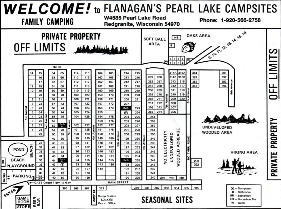 Flanagan's Pearl Lake Campsites, Redgranite pond bar/grill