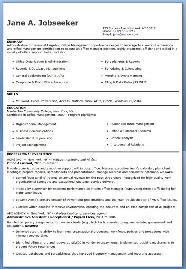 Office Assistant Resume Sample Creative Resume Design Templates - executive assistant resume skills