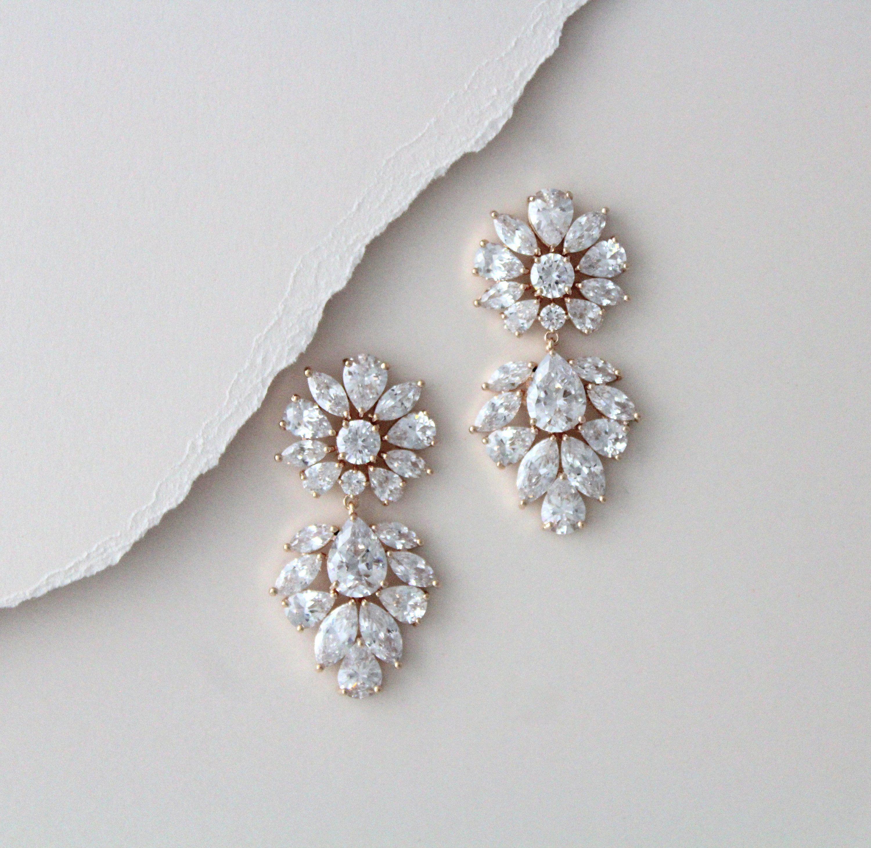 Rose Gold Bridal Earrings Vintage Wedding Earrings Bridal Jewelry Statement Earrings Rose Gold Wedding Jewelry Cz Drop Earrings In 2021 Wedding Earrings Vintage Crystal Earrings Wedding Rose Gold Bridal Earrings