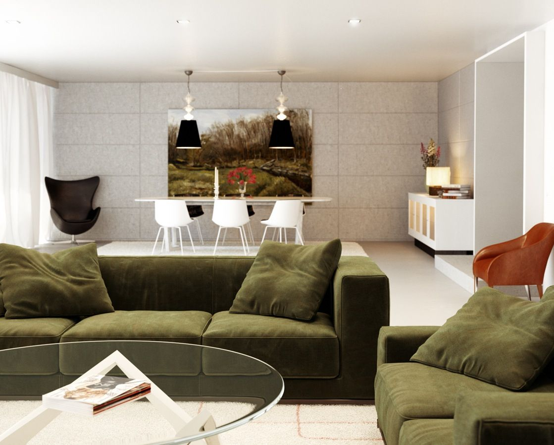 Creative Living Rooms For Style Inspiration Palette: Choosing Favorite Living Room Color Schemes: Green White