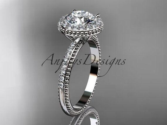 platinum diamond unique engagement ring wedding by anjaysdesigns