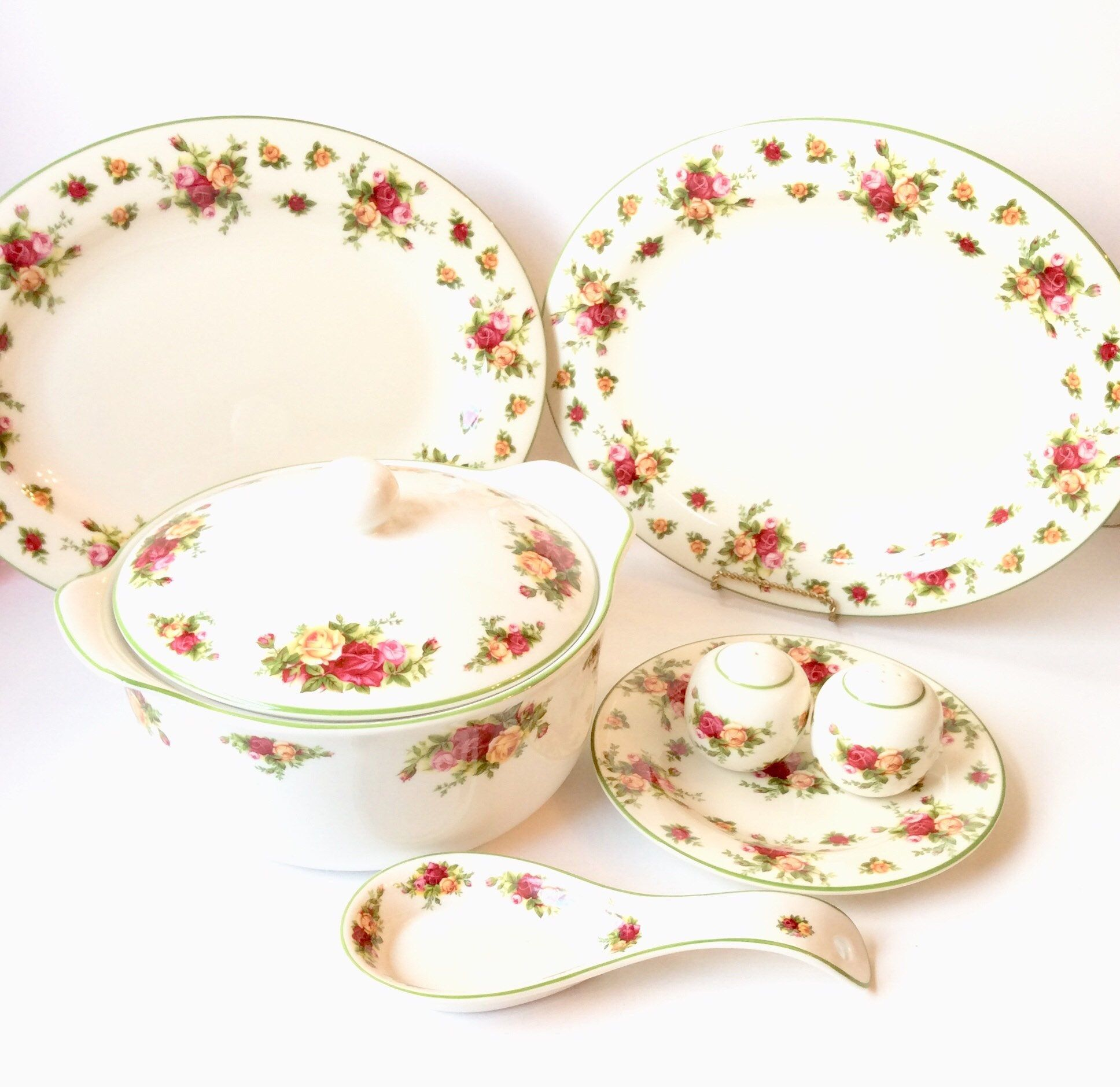 7pcs Royal Albert Old Country Roses Covered Casserole Bowl