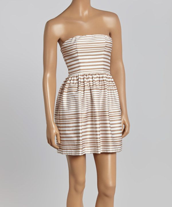 Look at this Necessary Objects Taupe & Ivory Stripe Strapless Dress on #zulily today!