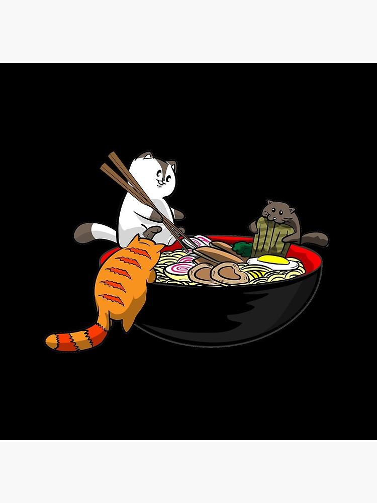 'Kawaii Japanese Anime Kitties Eating a Ramen Noodle Bowl