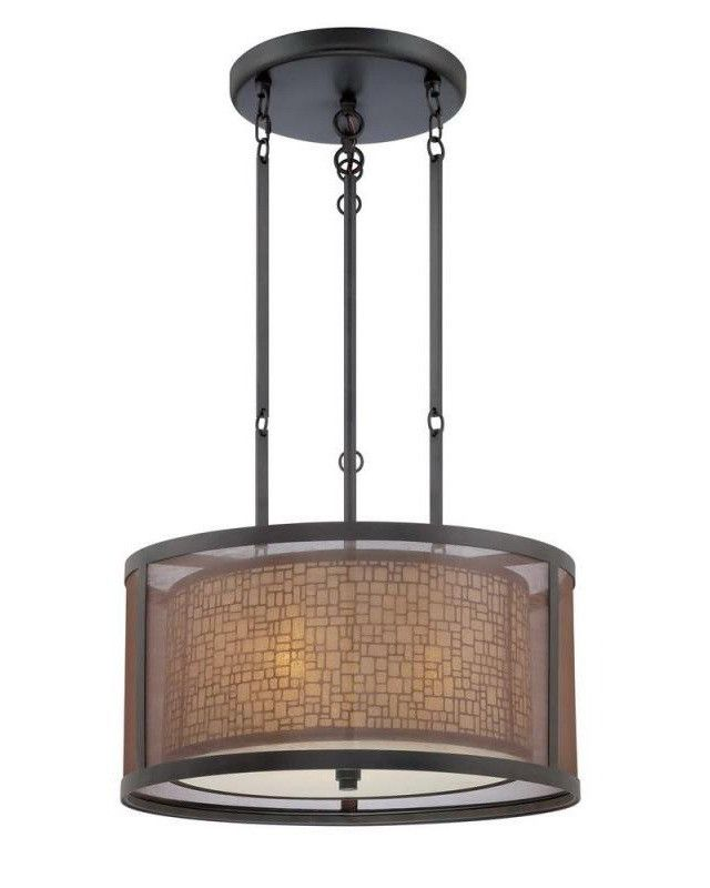 Delightful Quoizel Lighting TRN2820TM Three Light Teco Marrone Finish Pendant  Chandelier Good Looking