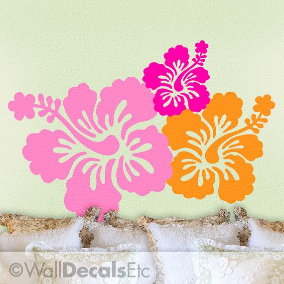 Tropical Decor Hibiscus Decal Hawaiian Flowers 7 Wall Decals Hawaii Vinyl