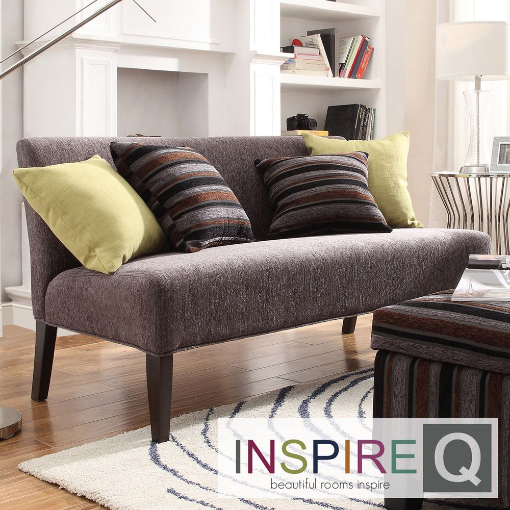 INSPIRE Q Wicker Park Dark Grey Chenille Armless Sofa by iNSPIRE Q