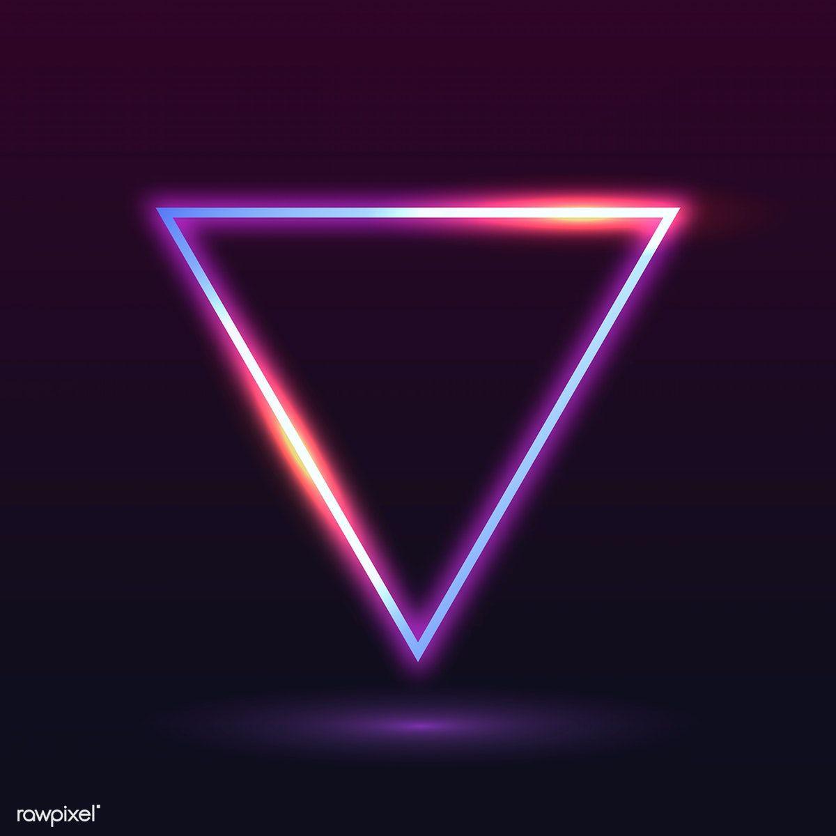 Download Premium Vector Of Retro Neon Triangle Badge Vector 599478 Neon Png Neon Wallpaper Neon
