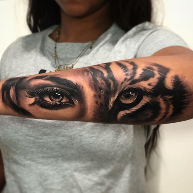 """Chris Carter on Instagram: """"Meow! 🐅👁 Fun project from a few weeks ago with Ashlyn who basically slept through her first tattoo😴😂Thanks for looking!✌️#tattoo #tattoos…"""""""