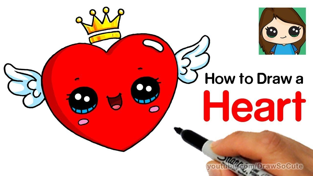 How To Draw A Heart With Wings Easy Easy Drawings Draw So Cute Videos Cute Drawings