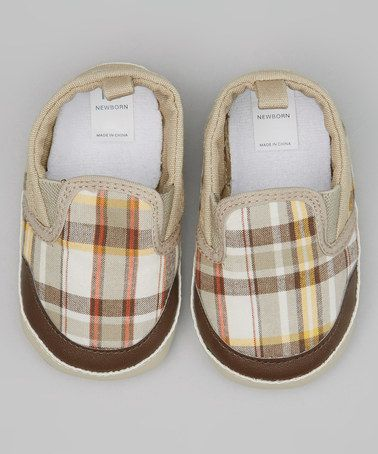 This Beige Plaid Slip-On Shoe by Kid Swag is perfect! #zulilyfinds