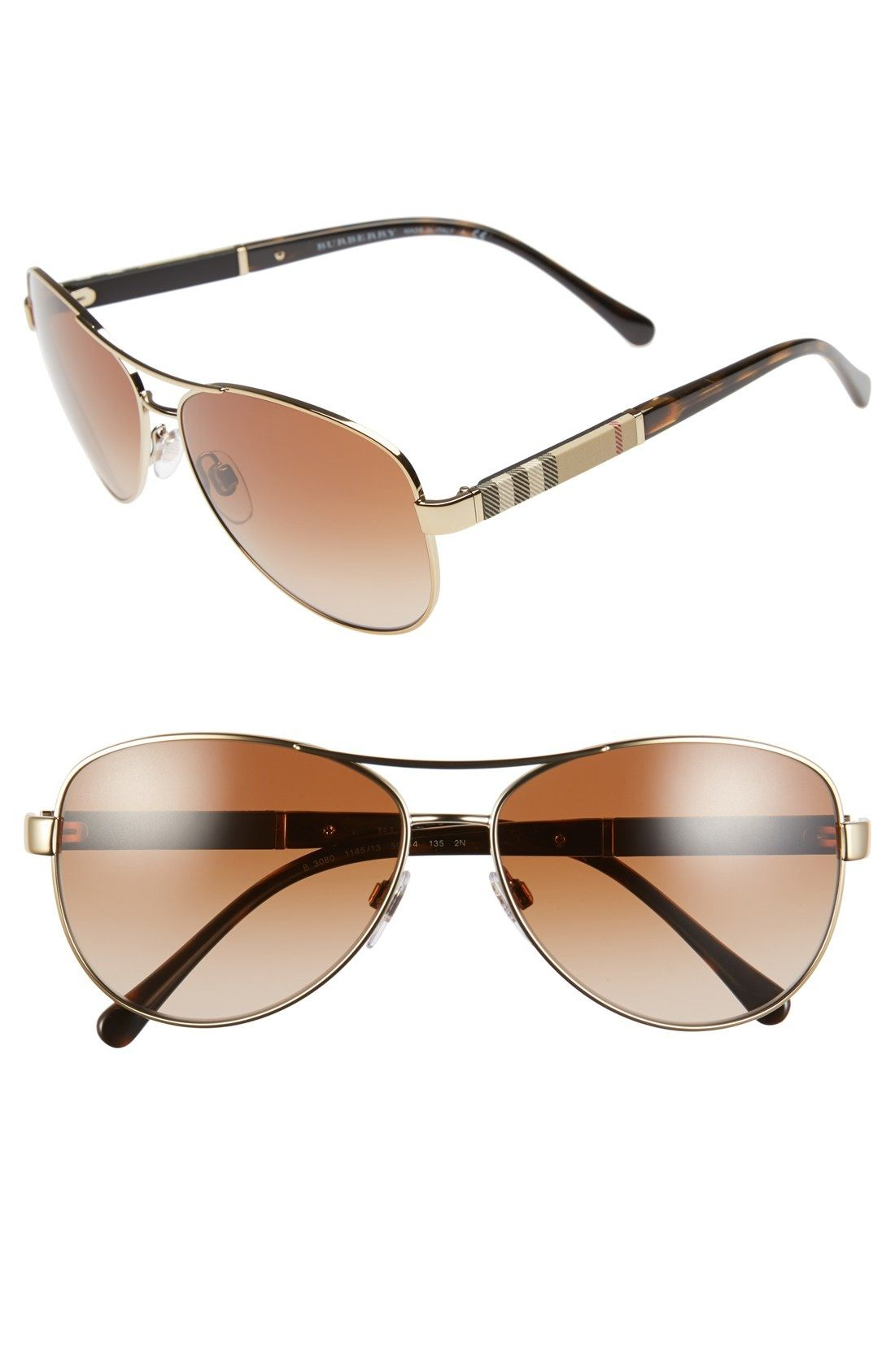 ce4fe871989 Burberry 59mm Aviator Sunglasses available at  Nordstrom ...