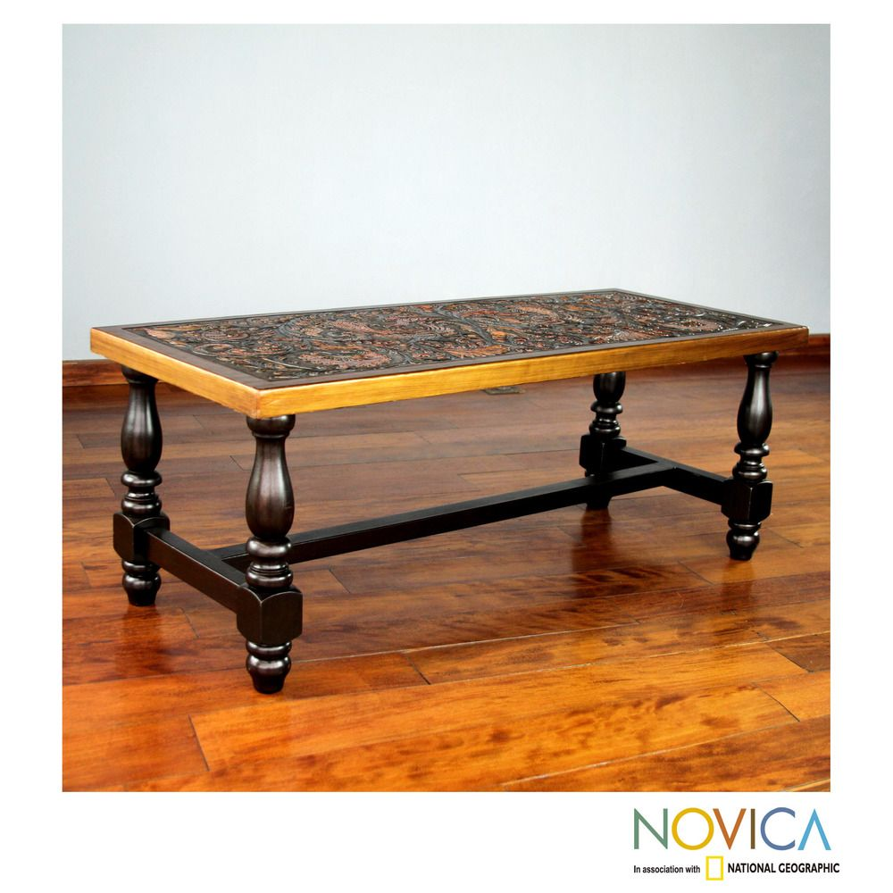 Handcrafted Mohena Wood Leather Andean Birds Coffee Table Peru - Overstock wood coffee table