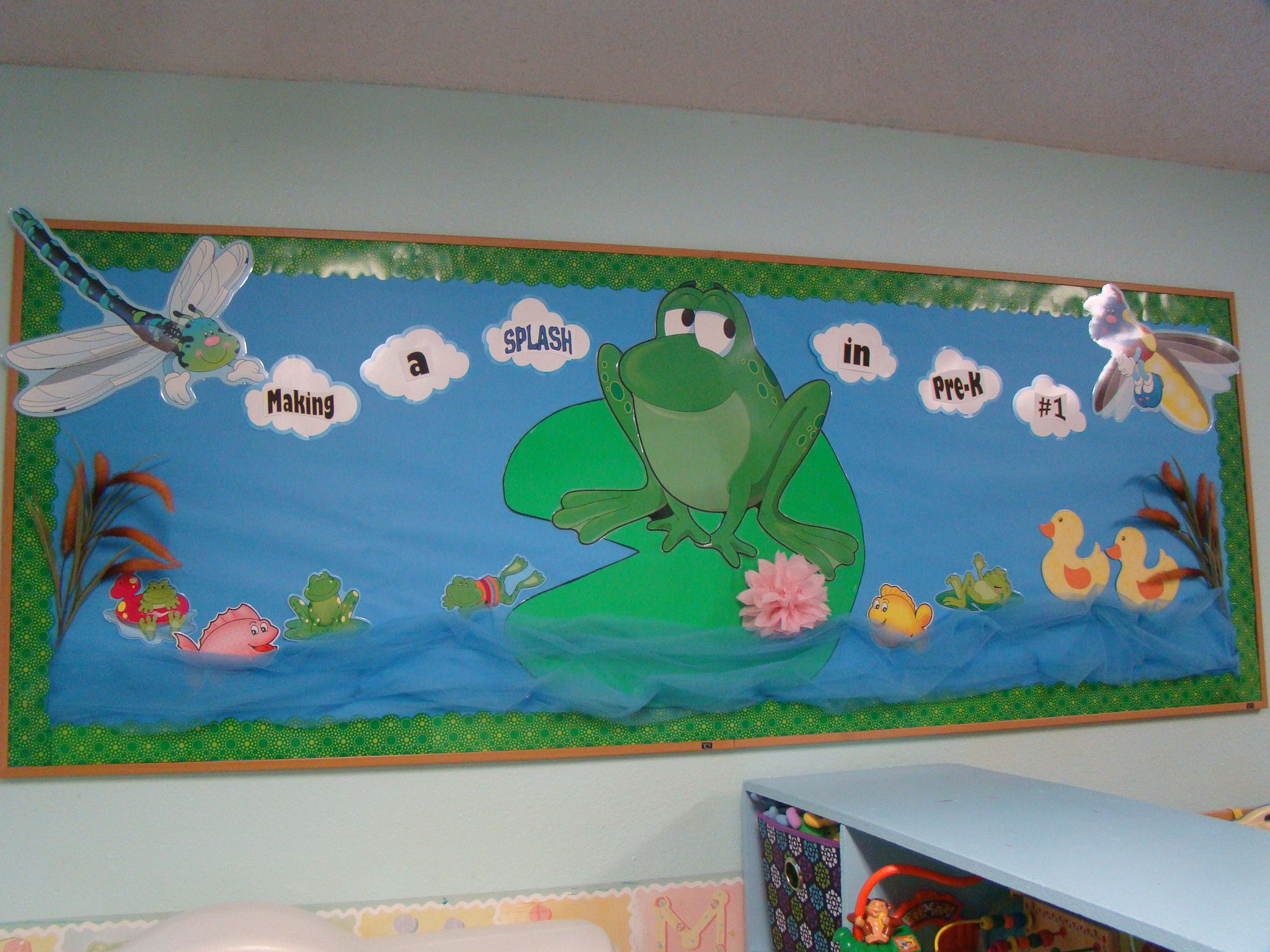 My pond classroom bulletin board my pins kindergarten for Pond decorations