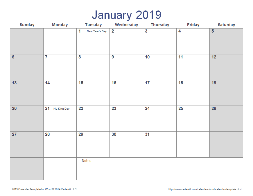 Download The 2019 Calendar Template For Word From Vertex42