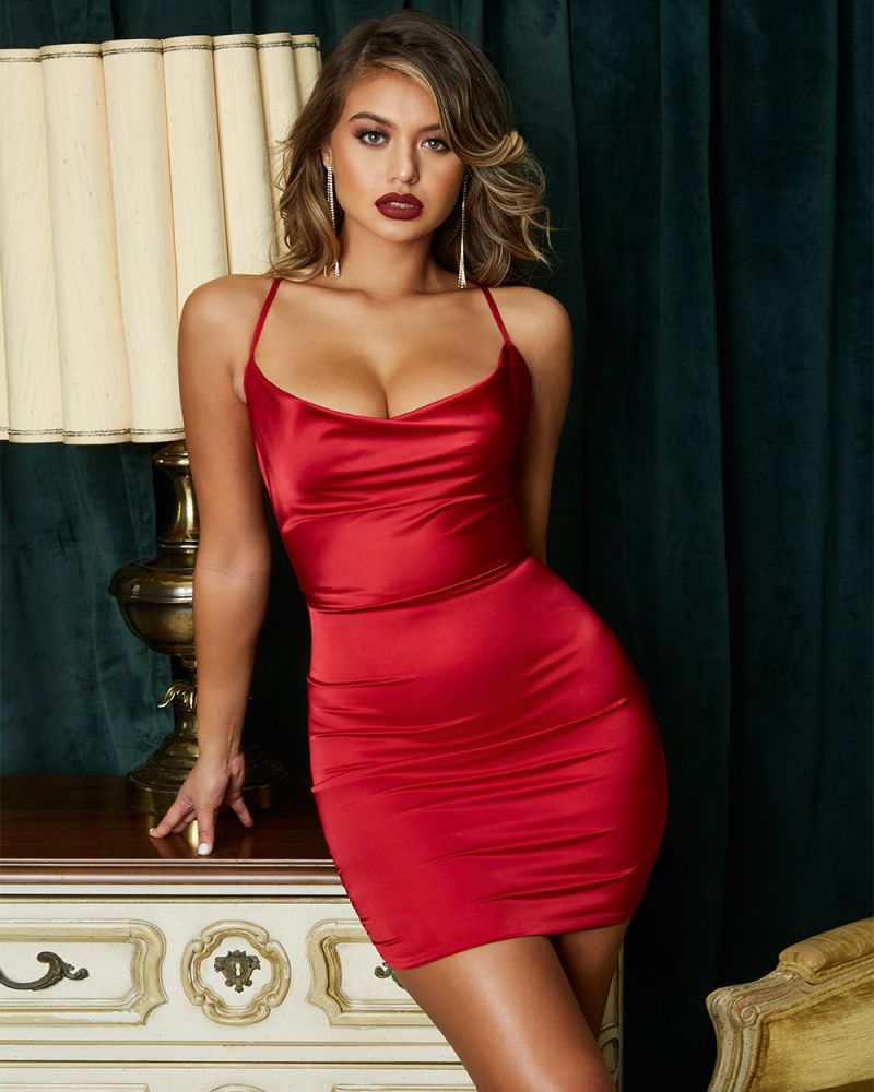 On The Prowl Strappy Cowl Neck Satin Mini Dress In Dark Red Mini Dress Satin Mini Dress Satin Bodycon Dress