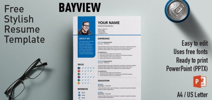 Bayview Clean Powerpoint Resume Template  Template Resume Cv And