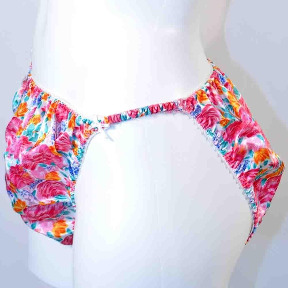 106c59f66de5 Vintage Satin Floral Print String High Cut Panties Plus Size 22/24  #IntimatePleasures