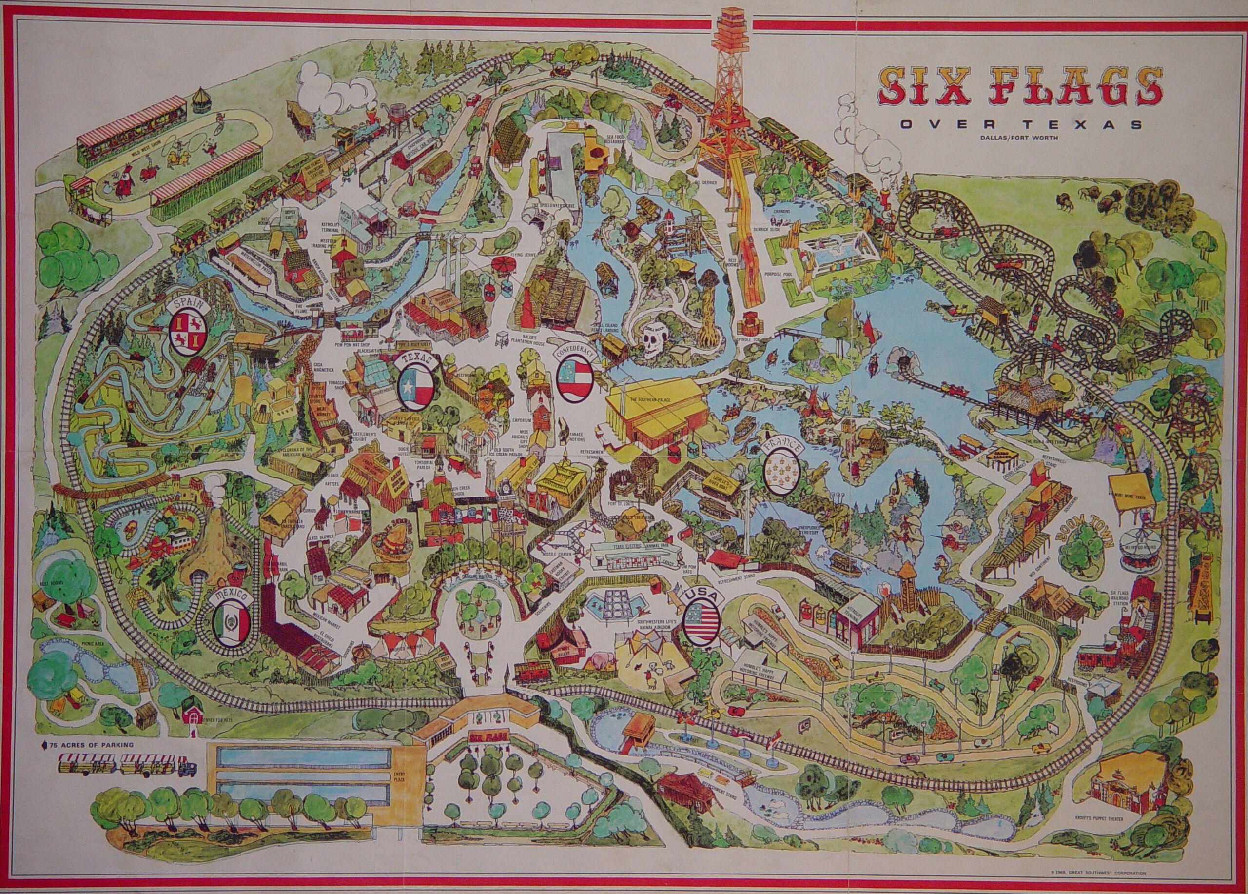 Six Flags Over Texas 1969 Six Flags Over Texas Six Flags Texas