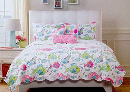 Cynthia Rowley 5pc Rainbow Tropical Fish Aqua Pink Green Quilt ... : cynthia rowley new york quilt - Adamdwight.com