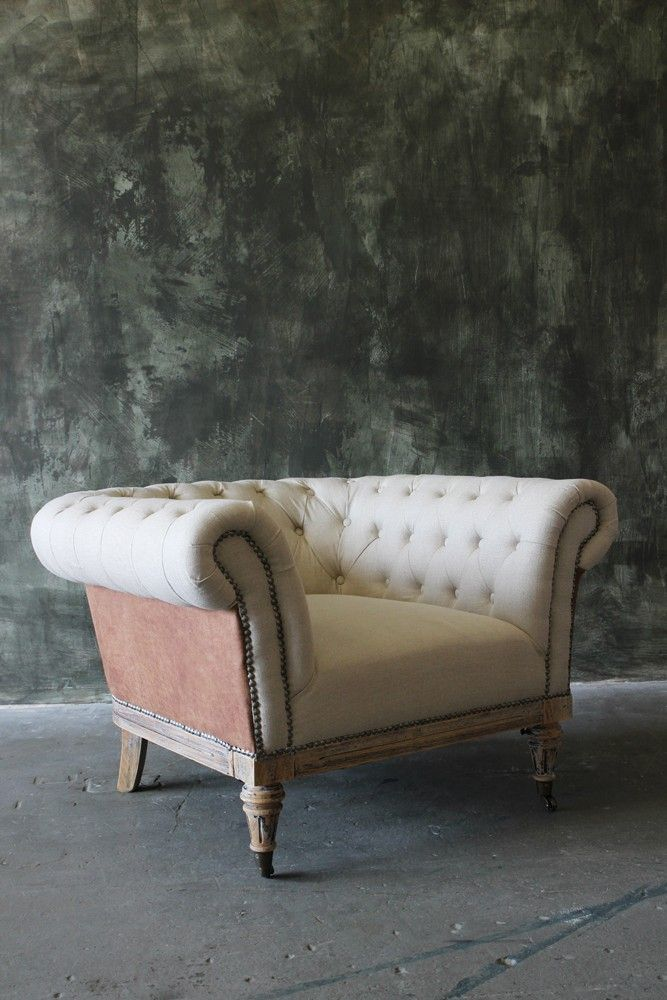 Linen & Leather Traditional Style Armchair - Sofas ...