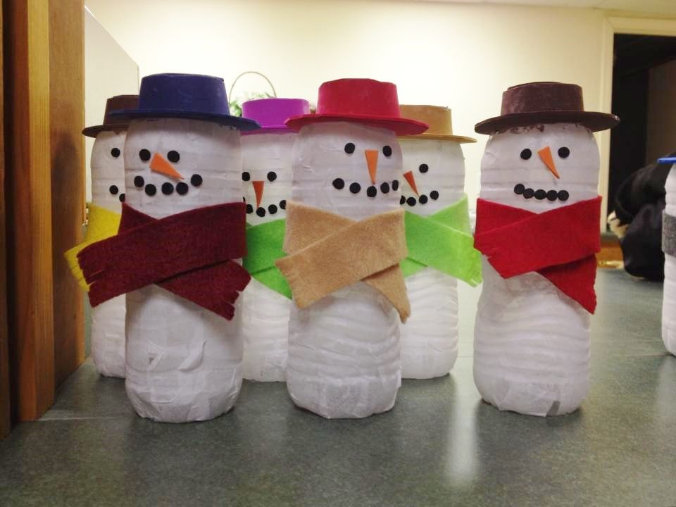reindeer water bottle craft snowmen made from empty water bottles we made in 5325