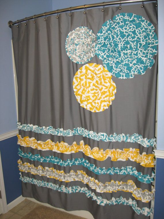 Shower Curtain Custom Made Ruffles And Flowers Designer Fabric Gray, White,  Teal, Aqua