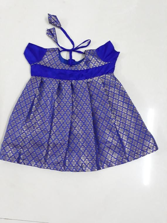 7ba54b23aee Indian silk frock for girl baby - infant dress - party wear - pattu pavadai  - traditional wear - leh