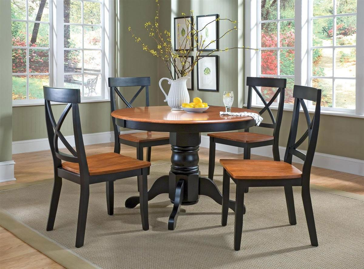 Elegant Lowest Price Online On All Home Styles 5 Piece Round Pedestal Dining Table  Set In Black And Cottage Oak Finish