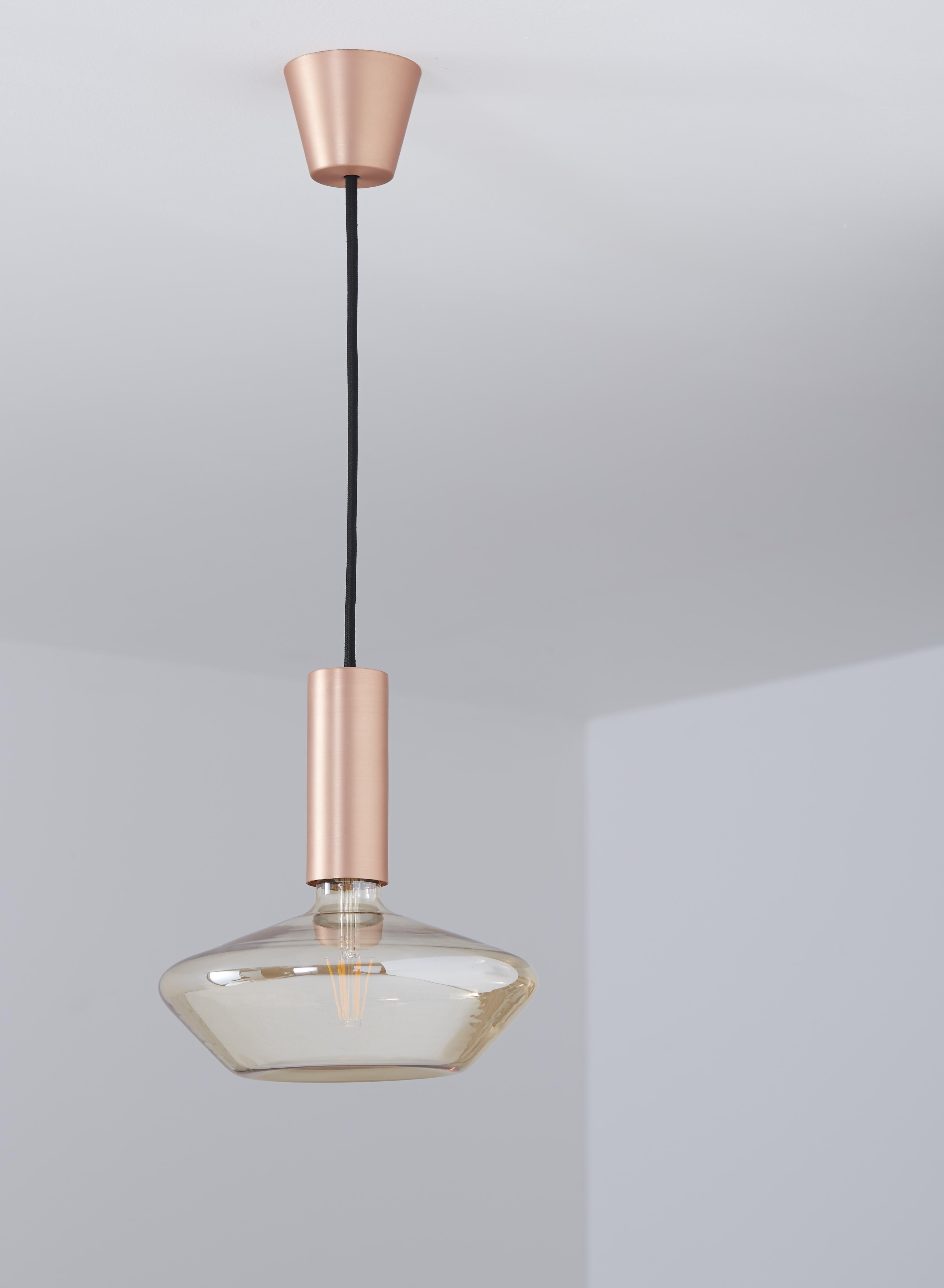Sylcone Brushed Copper Effect Light Pendant with Hand Blown DC200 Bulb
