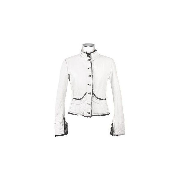Embroidered White Distressed Italian Leather Jacket - Forzieri by None, via Polyvore