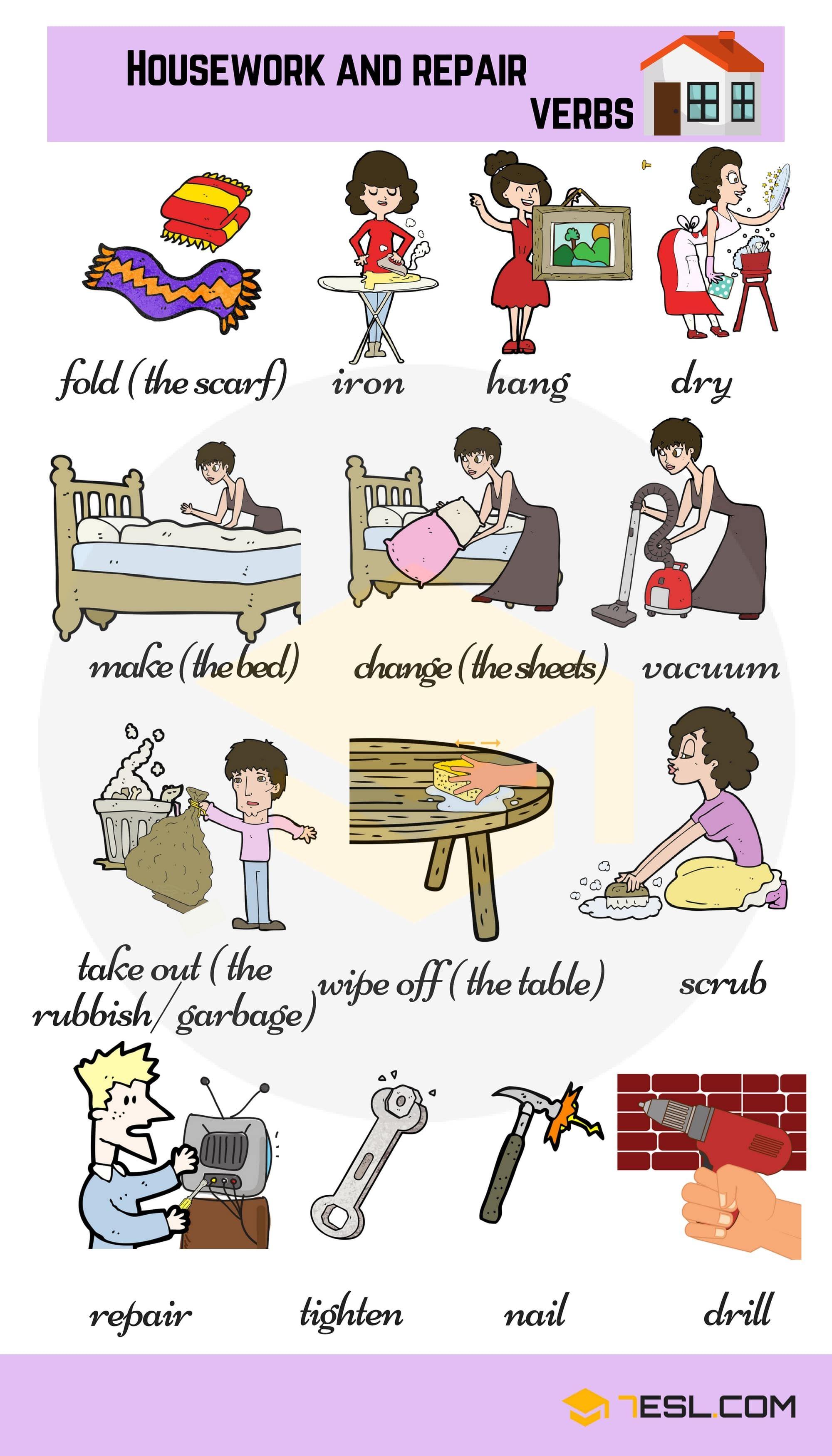Housework And Repair Verbs