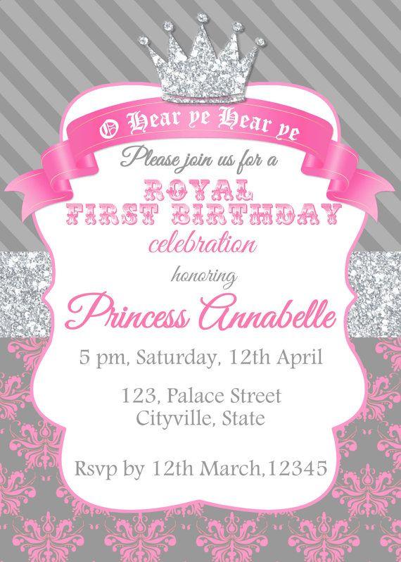 Princess invitation princess birthday invitation princess invites princess invitation glitter silver pink gray printable diy filmwisefo