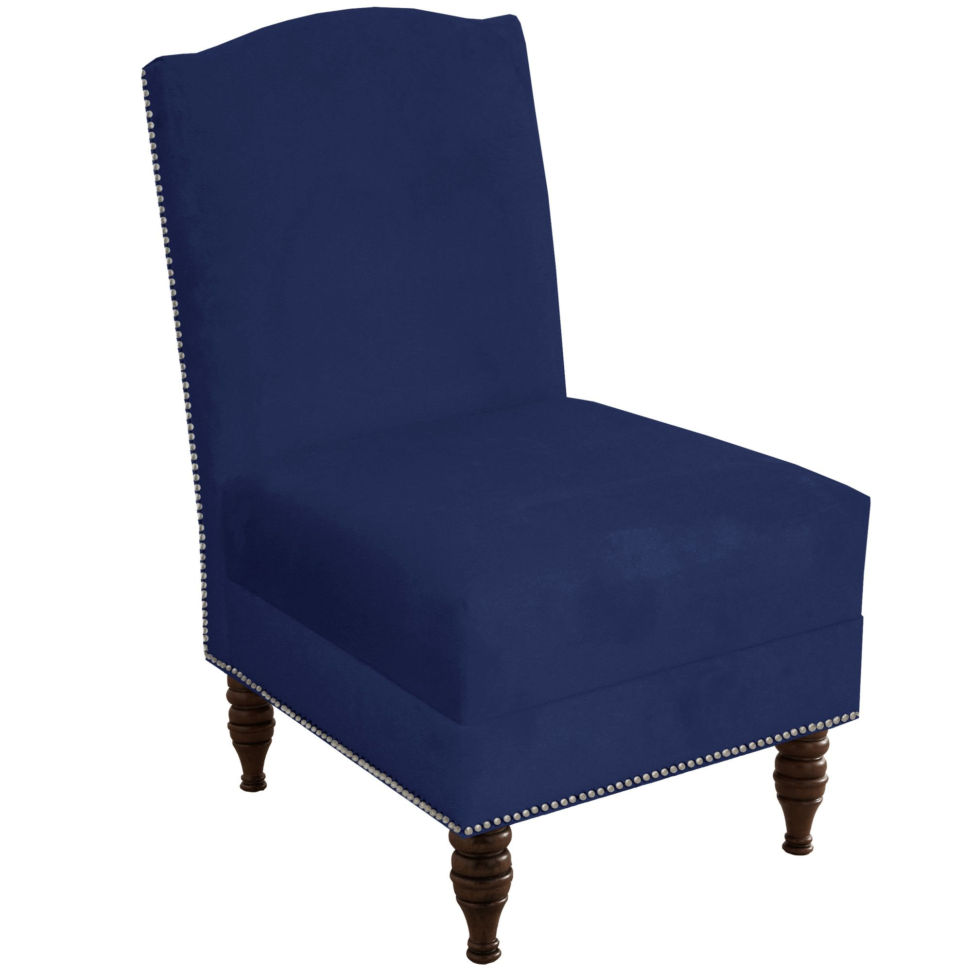 Deneuve Velvet Armless Nail Button Chair