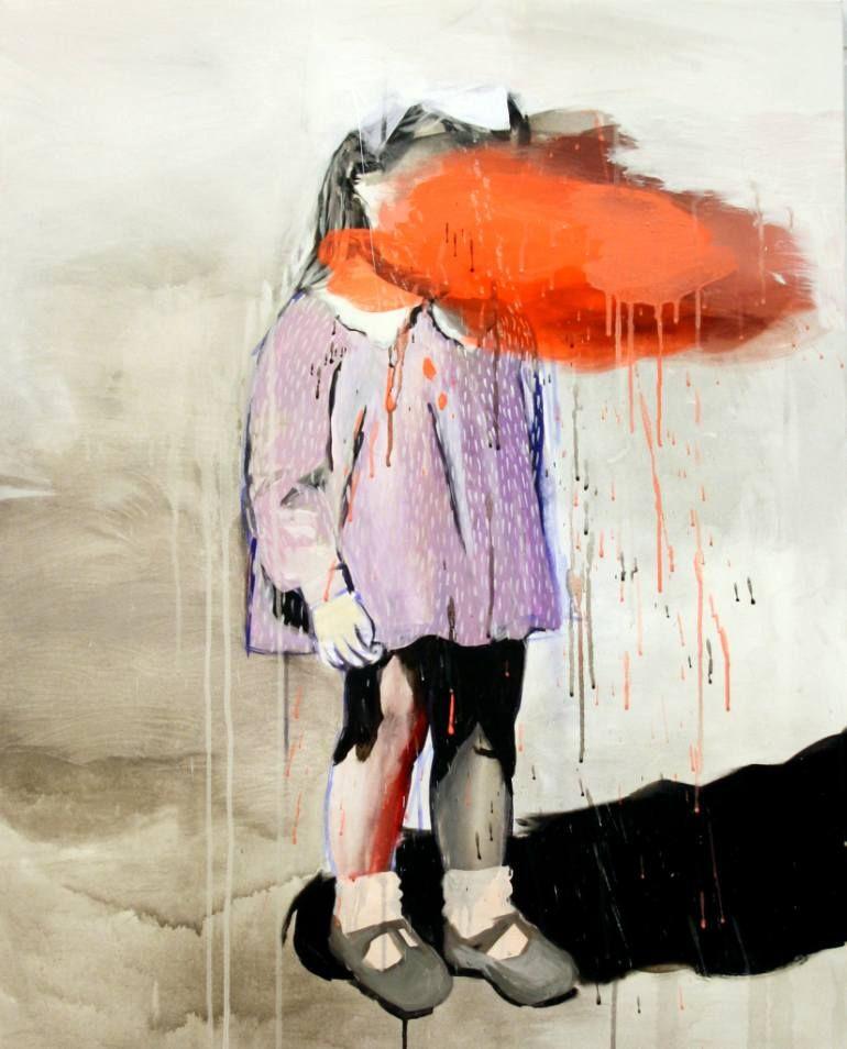 "Saatchi Art Artist Hanna Ilczyszyn; Painting, ""Orange cloud"" #art"