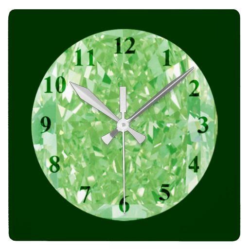 Green Diamonds Wall Clock Square Zazzle Com Diamond Wall Square Wall Clock Large Wall Clock