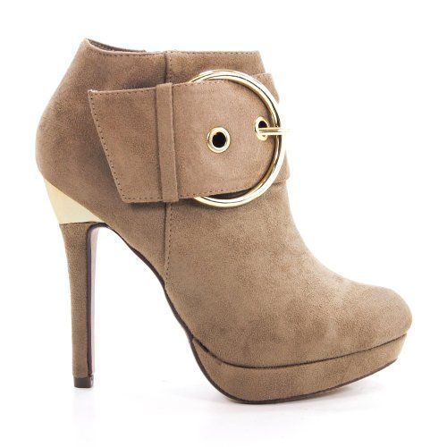 Long Light Taupe ISU Womens Pump Platform Booties Large Gold Buckle New Shoes-5.5 >>> You can get more details at http://www.amazon.com/gp/product/B00F1JJO9S/?tag=clothing8888-20&pde=170816172037