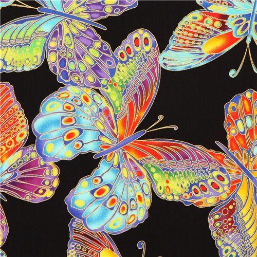 schwarzer Schmetterling Stoff mit Gold Timeless Treasures 1