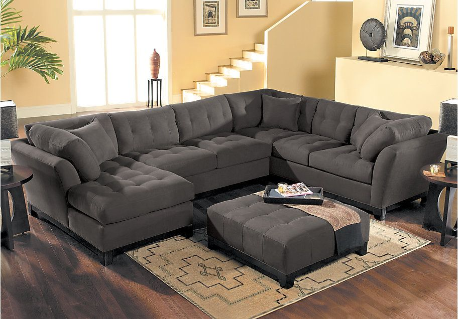 Picture Of Cindy Crawford Home Metropolis Chocolate 4 Pc Sectional Living  Room From Living Room Sets Furniture Part 71