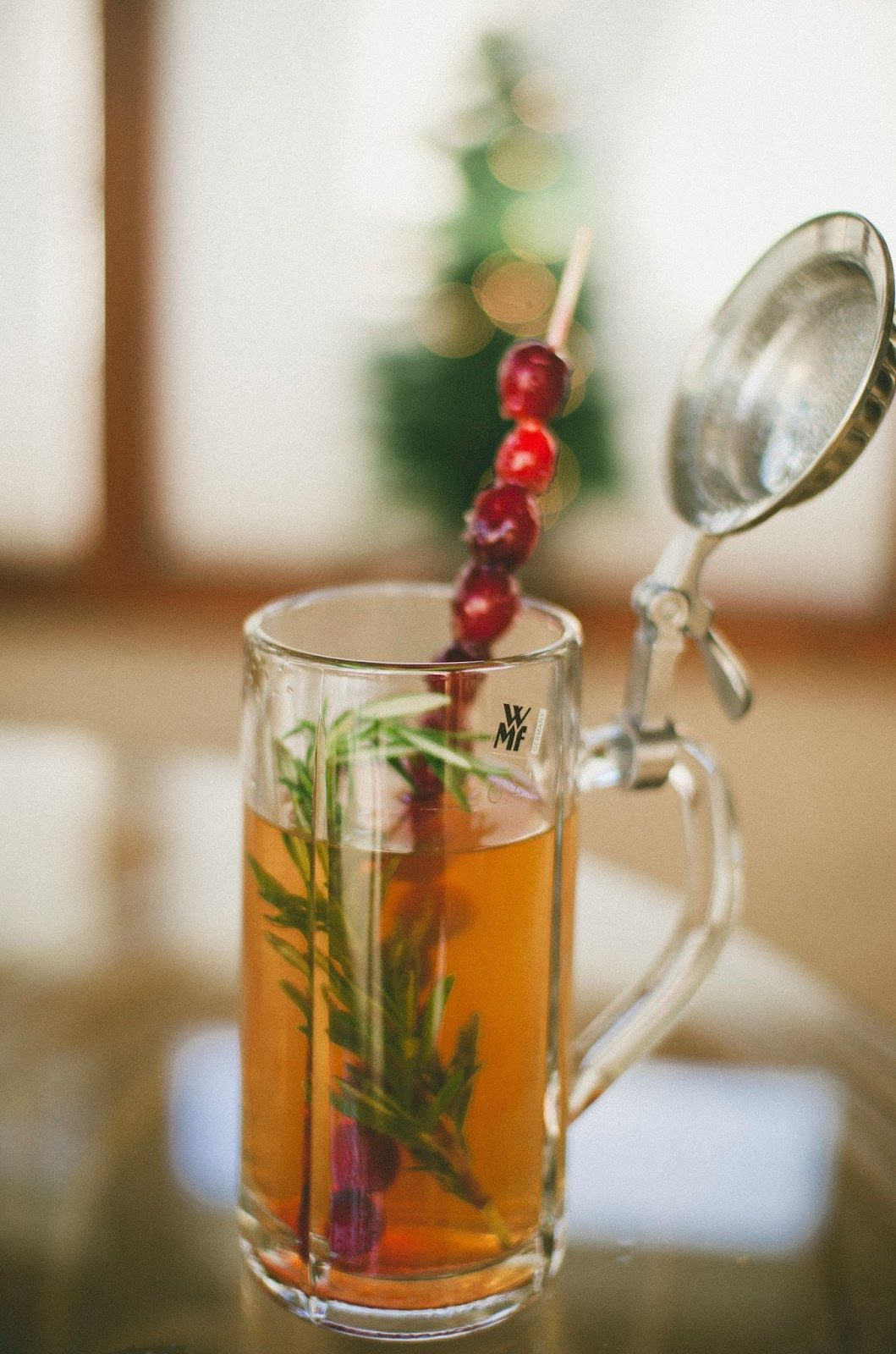 Hot Ginger and Rhubarb Tea Cocktail