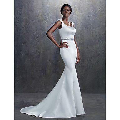 Lanting+Bride®+Trumpet+/+Mermaid+Petite+/+Plus+Sizes+Wedding+Dress+Court+Train+Square+Satin++–+USD+$+89.99