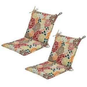 Hampton Bay Lois Floral Mid Back Outdoor Chair Cushion 2 Pack 7410 02000300 At The Home Depot Outdoor Chair Cushions Chair Cushions Patio Cushions