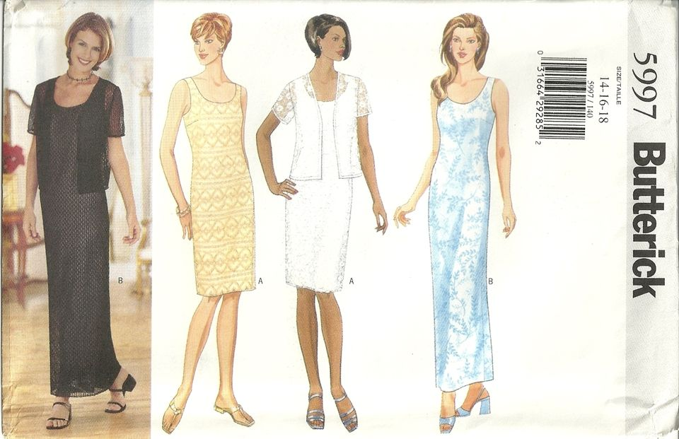 18ad83bf9d1 Butterick 5997 Mother Of The Bride Wedding Dress Sewing Pattern Sz 14-16-18  Elegant
