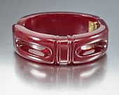 Art Deco Bracelet Cherry Amber Carved Bakelite Bangle Clamper Style Vintage 1930s Art Deco Jewelry
