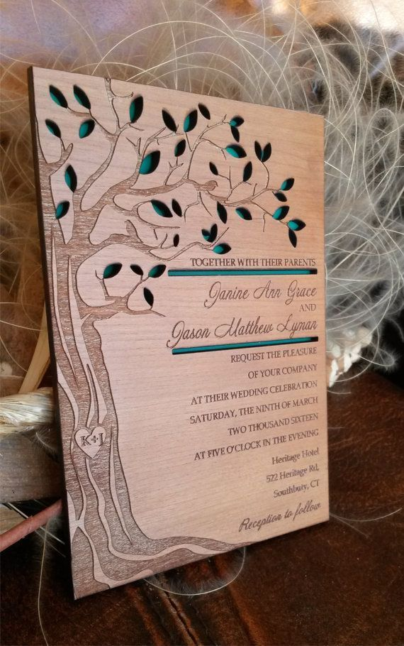 Personalized Tree Wedding Invitation 10 Real Wood Engraved Unique Invitations Laser Cut And