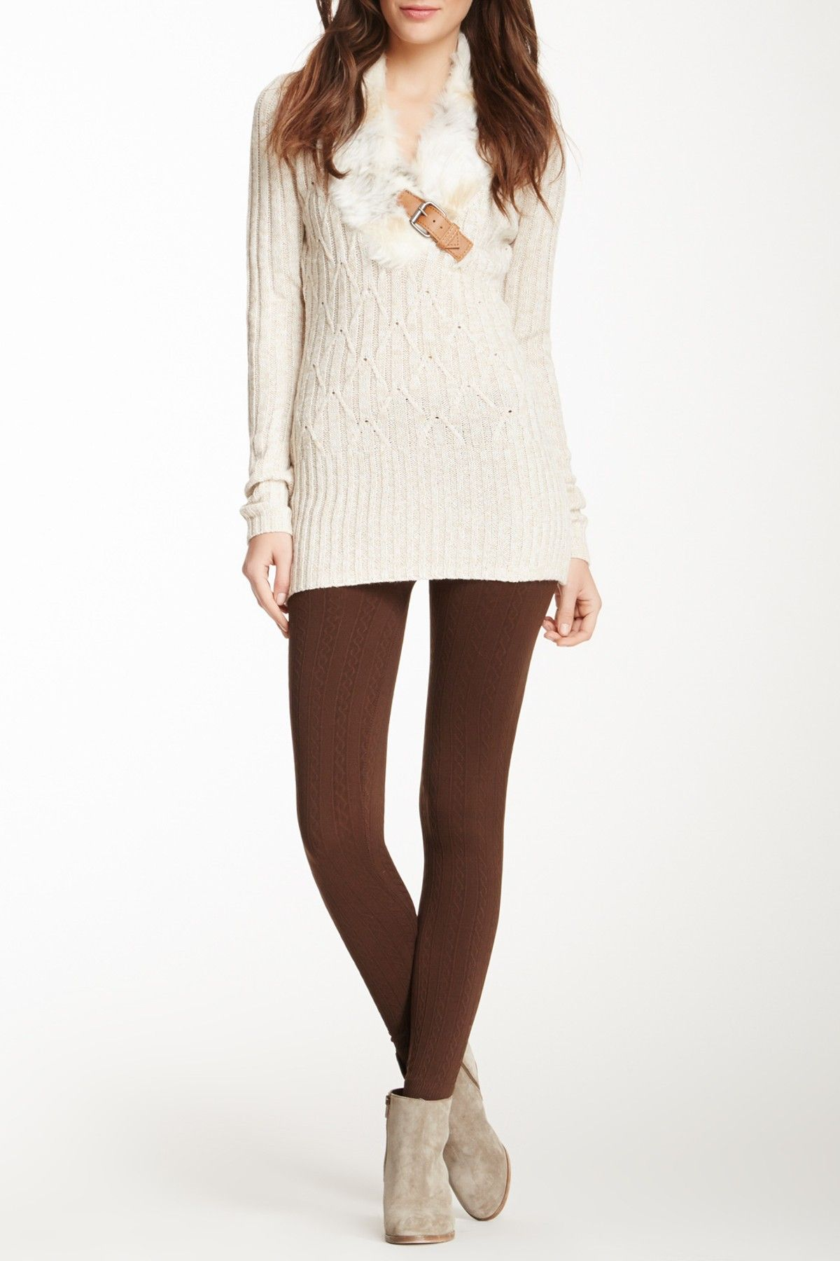 Seamless Cable Knit Sweater Legging By Papillon On Hautelook